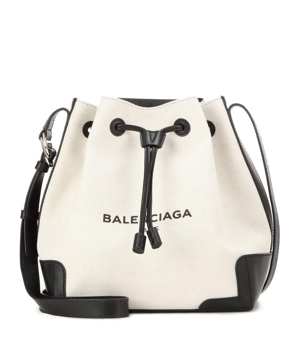 BALENCIAGA Leather-trimmed canvas bucket bag