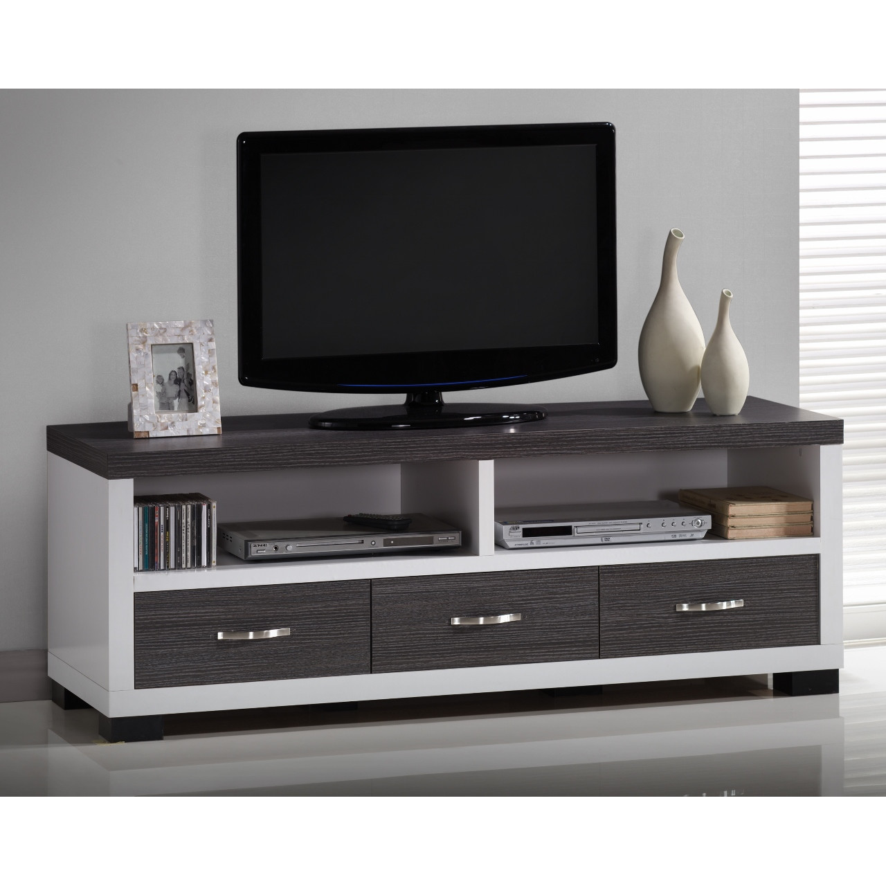Baxton+Studio+Oxley+59-Inch+Modern+and+Contemporary+Two-tone+White+and+Dark+Brown+Entertainment+TV+Cabinet+with+Three+Drawers